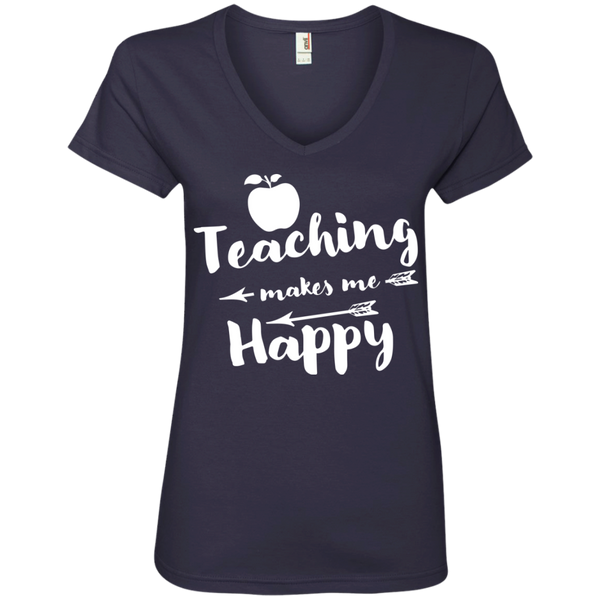 Teaching makes me Happy  Ladies  V-Neck Tee - TeachersLoungeShop - 4