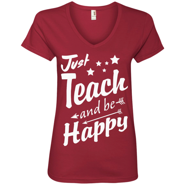 Just Teach and Be Happy  V-Neck Tee - TeachersLoungeShop - 3