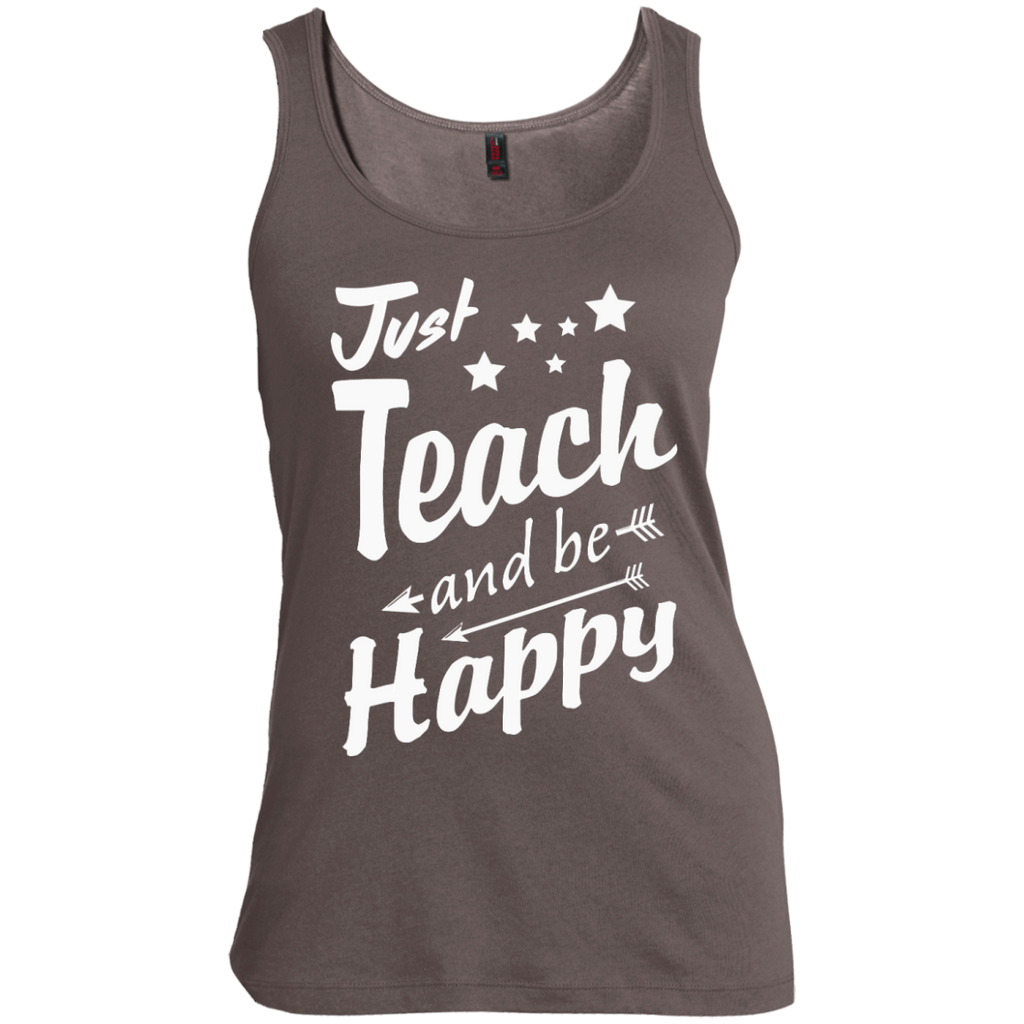 Just Teach and Be Happy  Women's  Scoop Neck Tank Top - TeachersLoungeShop - 1