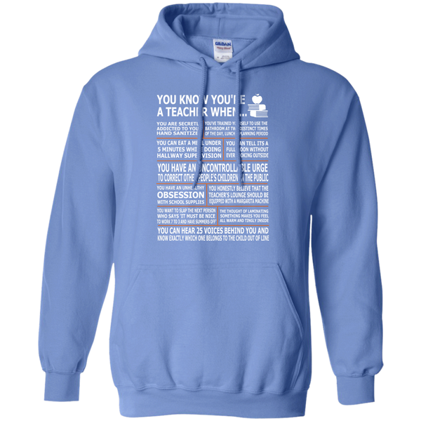 You Know You're a Teacher When Pullover Hoodie 8 oz - TeachersLoungeShop - 4