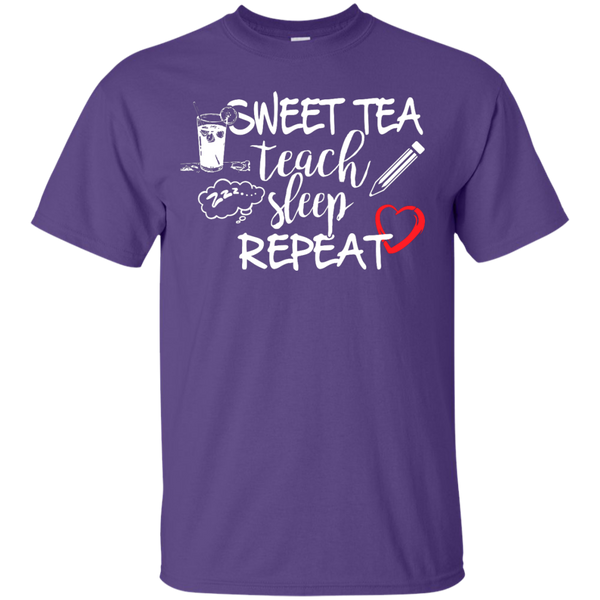Sweet Tea Teach Sleep Repeat  T-Shirt - TeachersLoungeShop - 10