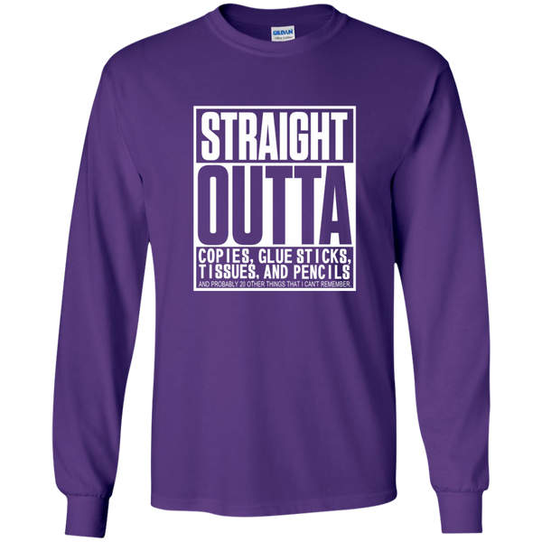 Straight Outta Copies Glue Sticks Tissues and Pencils LS Ultra Cotton Tshirt - TeachersLoungeShop - 11