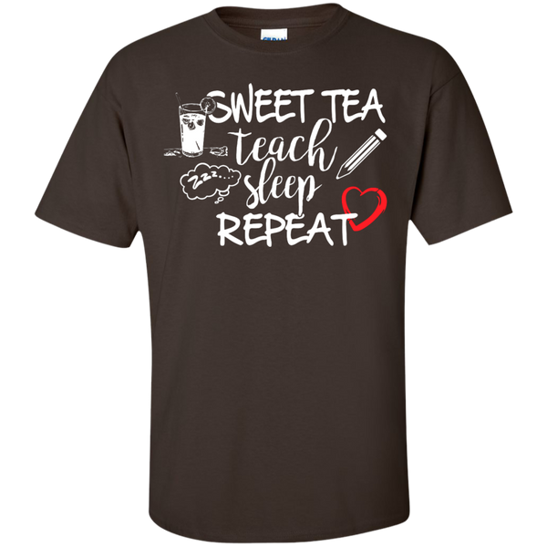 Sweet Tea Teach Sleep Repeat  T-Shirt - TeachersLoungeShop - 3