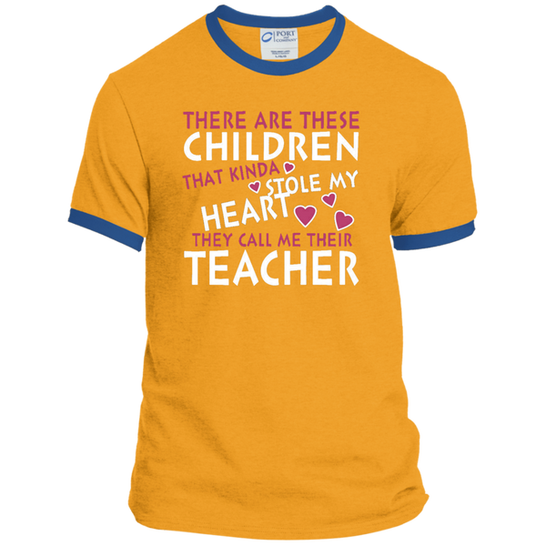 There are these Children that Kinda Stole My Heart They call Me Their Teacher Ringer Tee - TeachersLoungeShop - 4