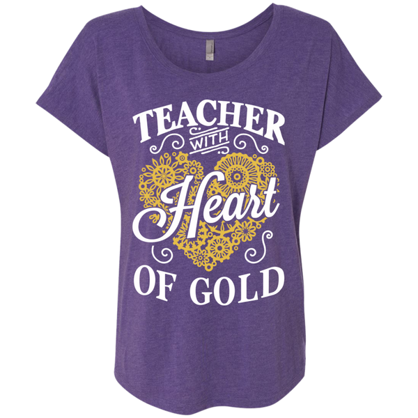 Teacher with Heart of Gold  Level Ladies Triblend Dolman Sleeve - TeachersLoungeShop - 2