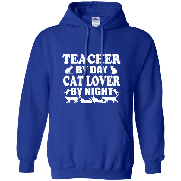 Teacher by Day Cat Lover by Night Pullover Hoodie 8 oz - TeachersLoungeShop - 12