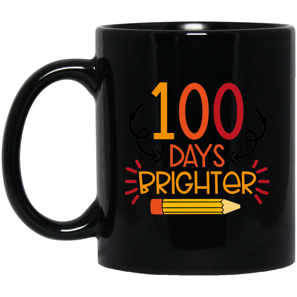 100 Days Brighter  11 oz. Black Mug