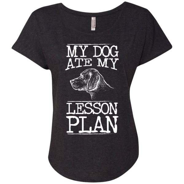 My Dog Ate my Lesson Plan  Next Level Ladies Triblend Dolman Sleeve - TeachersLoungeShop - 4
