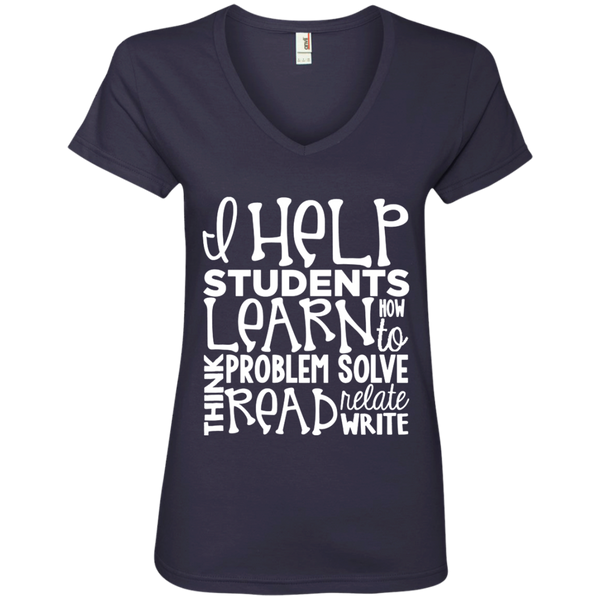 I Help Students Learn Think Problem Solve Read Relate Write Ladies' V-Neck Tee - TeachersLoungeShop - 4