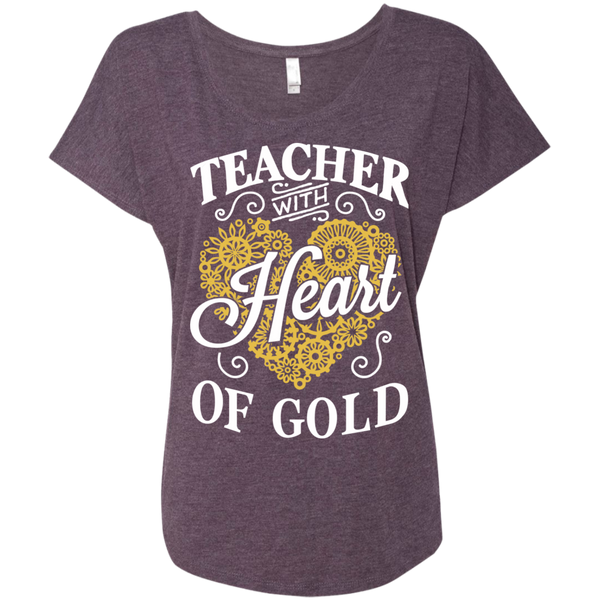 Teacher with Heart of Gold  Level Ladies Triblend Dolman Sleeve - TeachersLoungeShop - 6