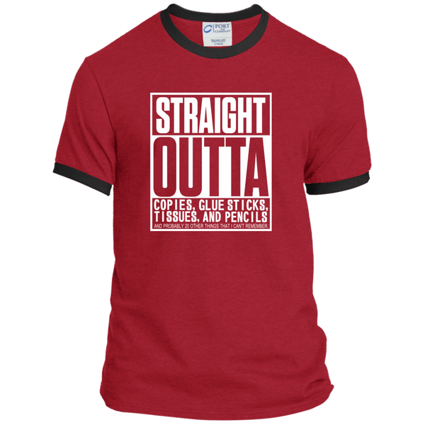 Straight Outta Copies Glue Sticks Tissues and Pencils Ringer Tee - TeachersLoungeShop - 7