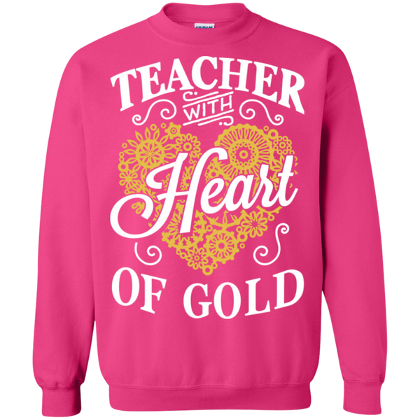 Teacher with Heart of Gold  Crewneck Pullover Sweatshirt  8 oz - TeachersLoungeShop - 11