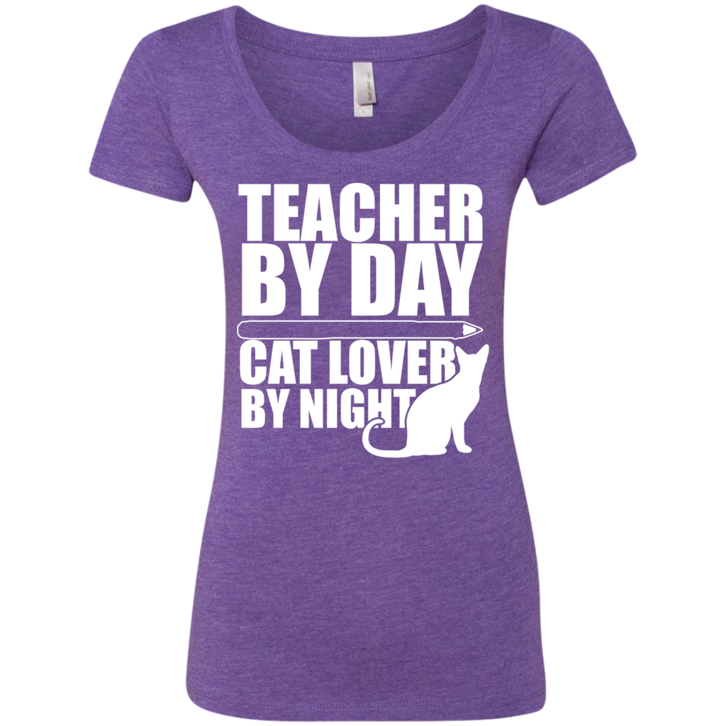 Teacher by Day Cat Lover by Night  Level Ladies Triblend Scoop - TeachersLoungeShop - 1