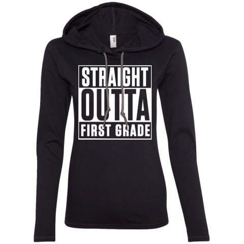 Straight Outta First Grade   LS T-Shirt Hoodie - TeachersLoungeShop - 1