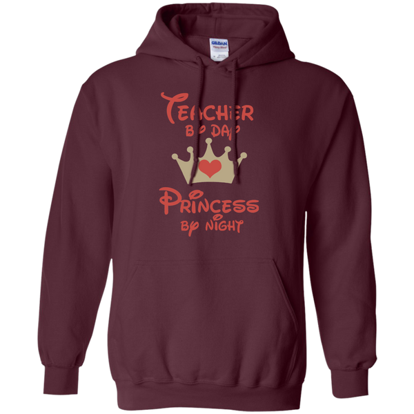 Teacher by Day Princess by Night Pullover Hoodie 8 oz - TeachersLoungeShop - 7