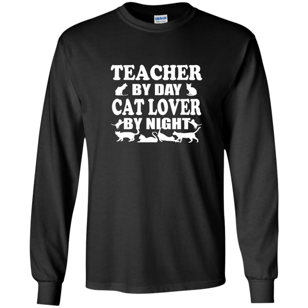 Teacher by Day Cat Lover by Night LS Ultra Cotton Tshirt - TeachersLoungeShop - 1