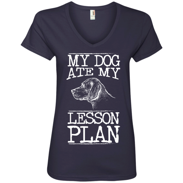 My Dog Ate my Lesson Plan  Ladies V-Neck Tee - TeachersLoungeShop - 4