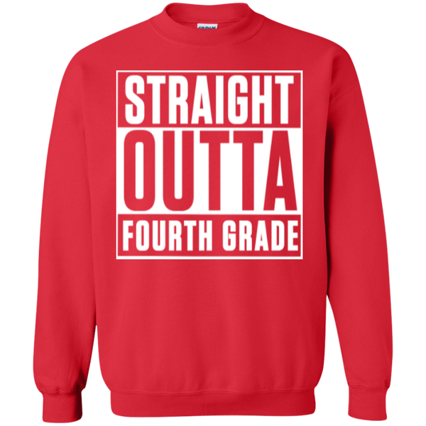 Straight Outta Fourth Grade  Crewneck Pullover Sweatshirt  8 oz - TeachersLoungeShop - 3
