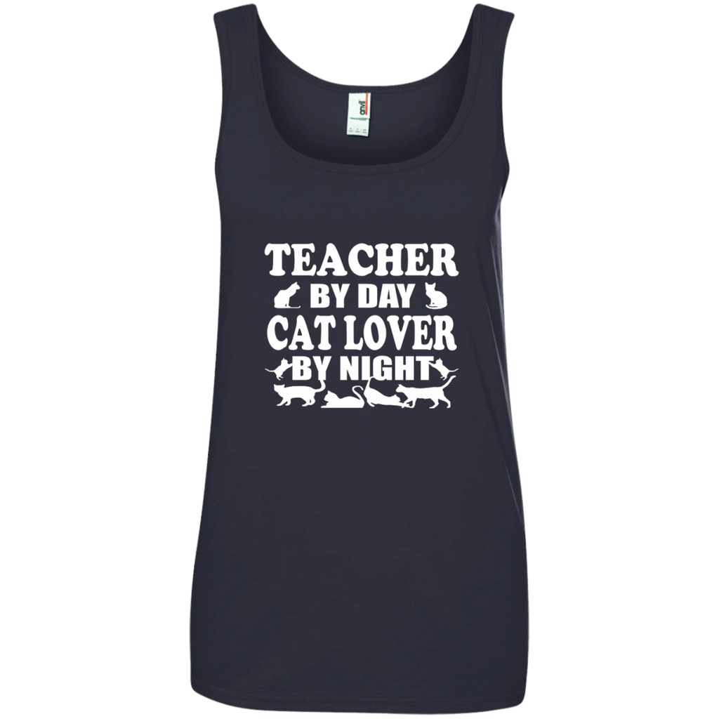 Teacher by Day Cat Lover by Night Ladies' 100% Ringspun Cotton Tank Top - TeachersLoungeShop - 1