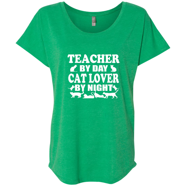 Teacher by Day Cat Lover by Night Next Level Ladies Triblend Dolman Sleeve - TeachersLoungeShop - 9