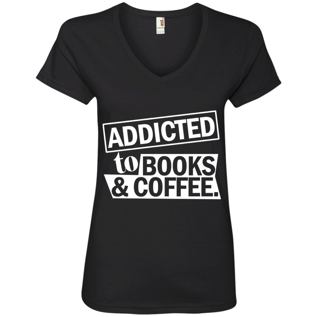 Addicted to Books and Coffee Ladies' V-Neck Tee - TeachersLoungeShop - 1