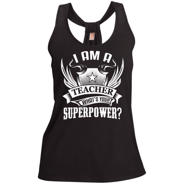 I am a Teacher what's your Superpower Ladies Shimmer Loop Back Tank - TeachersLoungeShop - 1
