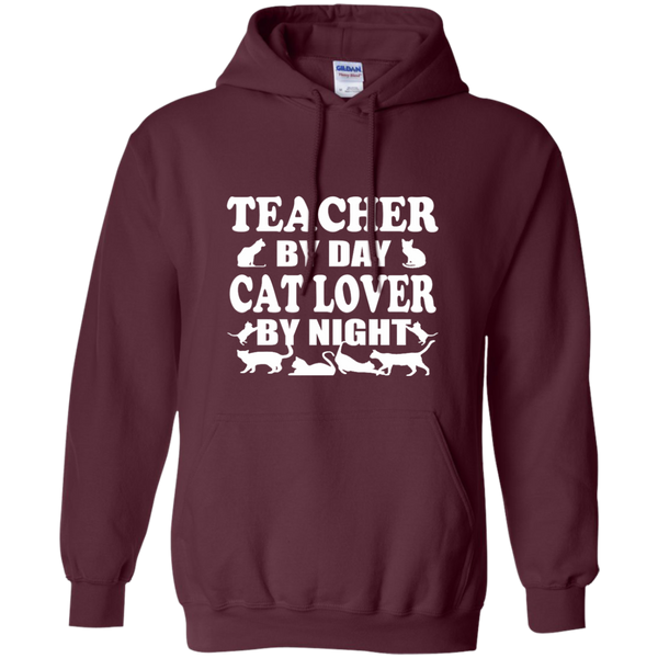 Teacher by Day Cat Lover by Night Pullover Hoodie 8 oz - TeachersLoungeShop - 9