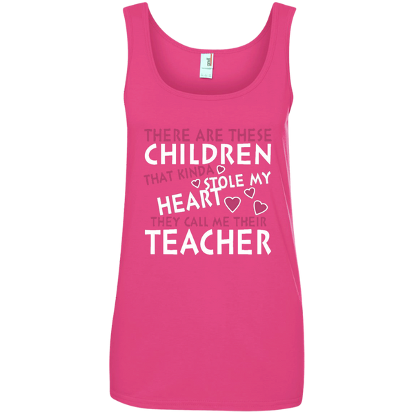 There are these Children that Kinda Stole My Heart They call Me Their Teacher Ladies' 100% Ringspun Cotton Tank Top - TeachersLoungeShop - 4