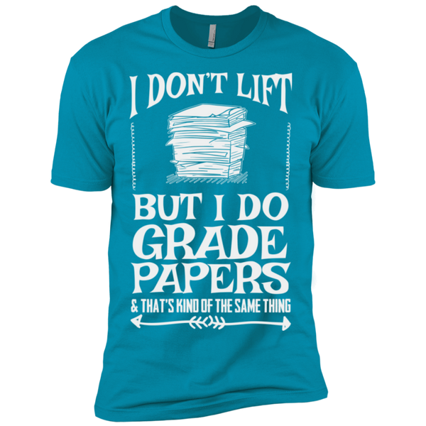 I Dont Lift but I do Grade papers Level Premium Short Sleeve Tee - TeachersLoungeShop - 13