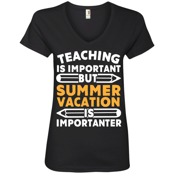 Teaching is important but Summer vacation is importanter  V-Neck Tee - TeachersLoungeShop - 1