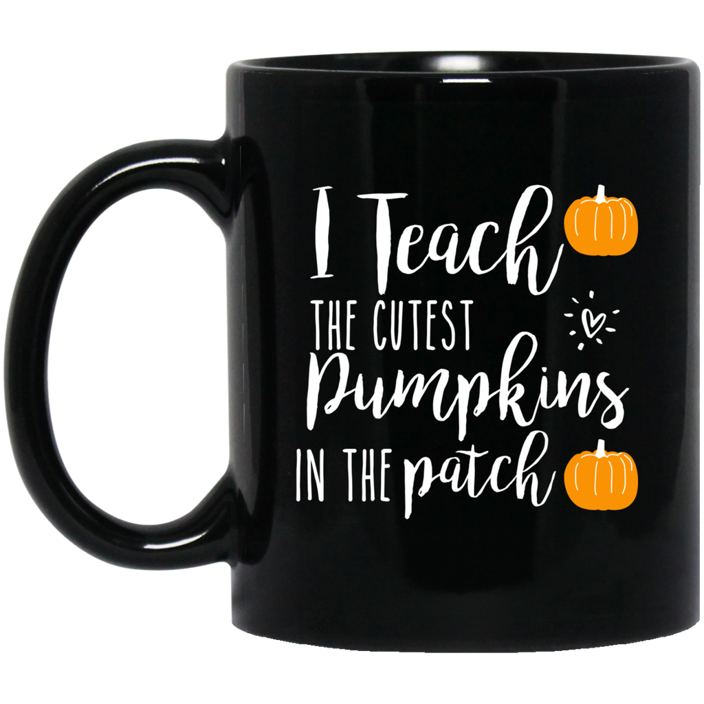 I teach pumpkins  in the patch  11 oz. Black Mug