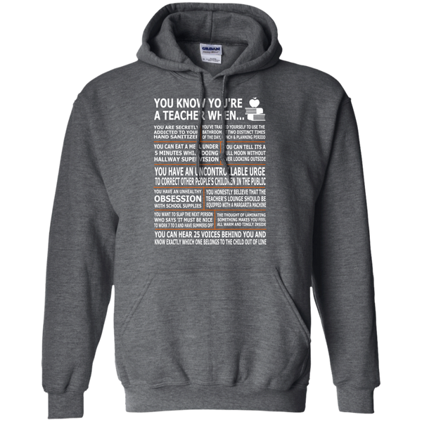 You Know You're a Teacher When Pullover Hoodie 8 oz - TeachersLoungeShop - 3