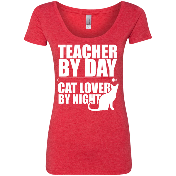 Teacher by Day Cat Lover by Night  Level Ladies Triblend Scoop - TeachersLoungeShop - 4