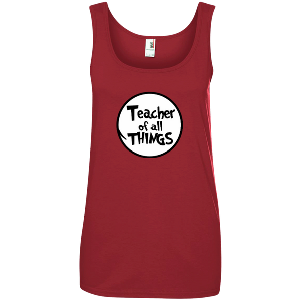 Teacher Of All Things ver2 Ladies' 100% Ringspun Cotton Tank Top - TeachersLoungeShop - 2