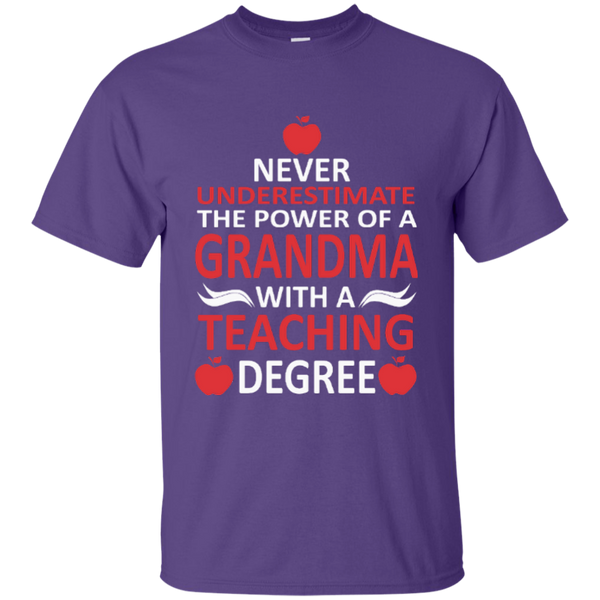 Never Underestimate The Power Of A Grandma With A Teaching Degree Cotton T-Shirt - TeachersLoungeShop - 4