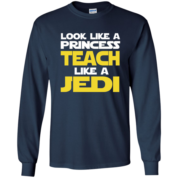 Look Like a Princess Teach Like a Jedi LS Ultra Cotton Tshirt - TeachersLoungeShop - 10