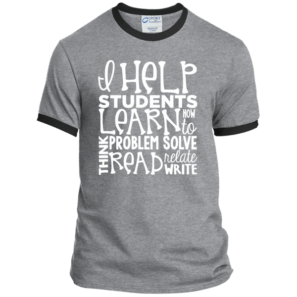 I Help Students Learn Think Problem Solve Read Relate Write Ringer Tee - TeachersLoungeShop - 2
