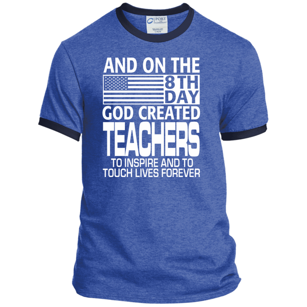 And on the 8th Day God Created Teachers to Inspire and to Touch Lives Forever Ringer Tee - TeachersLoungeShop - 6