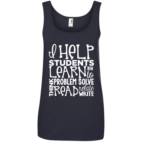 I Help Students Learn Think Problem Solve Read Relate Write Ladies' 100% Ringspun Cotton Tank Top - TeachersLoungeShop - 3