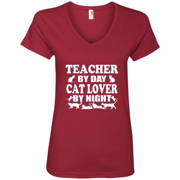 Teacher by Day Cat Lover by Night Ladies' V-Neck Tee - TeachersLoungeShop - 4