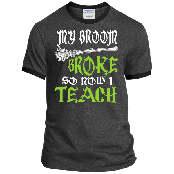 My Broom Broke So Now I'm a Teacher Ringer Tee - TeachersLoungeShop - 3