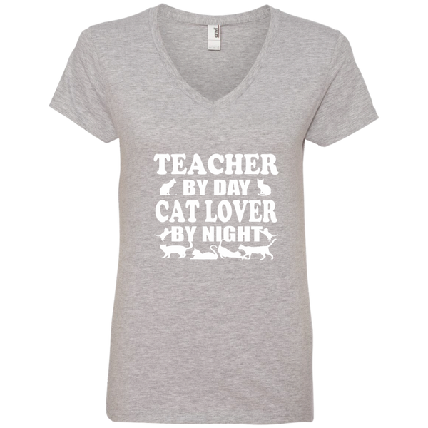 Teacher by Day Cat Lover by Night Ladies' V-Neck Tee - TeachersLoungeShop - 2