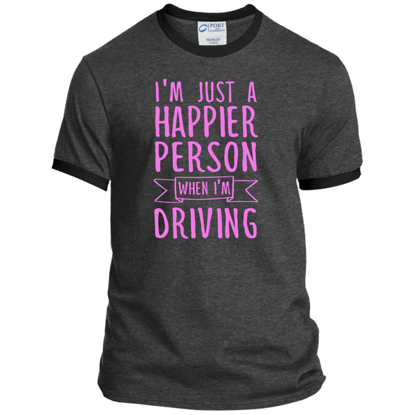 I'm Just a Happier Person When I'm Driving Ringer Tee - TeachersLoungeShop - 5