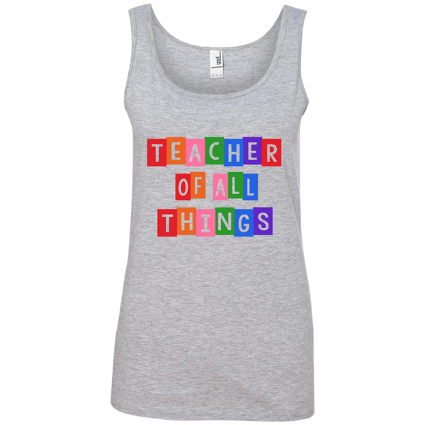 Teacher of all Things Ladies' 100% Ringspun Cotton Tank Top - TeachersLoungeShop - 2