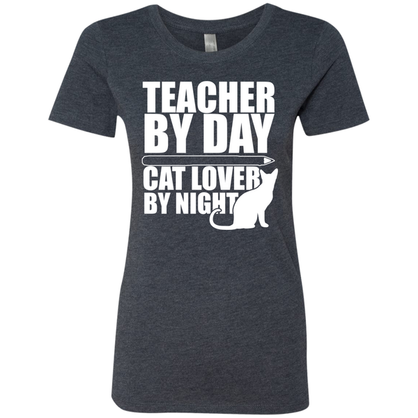 Teacher by Day Cat Lover by Night Next  Level Ladies Triblend T-Shirt - TeachersLoungeShop - 4
