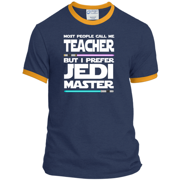 Most People Call Me Teacher But I Prefer Jedi Master Ringer Tee - TeachersLoungeShop - 1