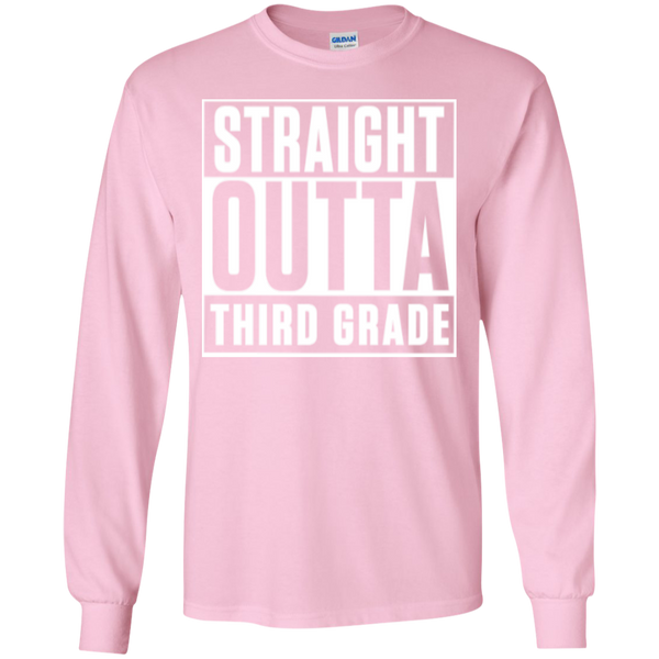 Straight Outta Third Grade LS Cotton Tshirt - TeachersLoungeShop - 12