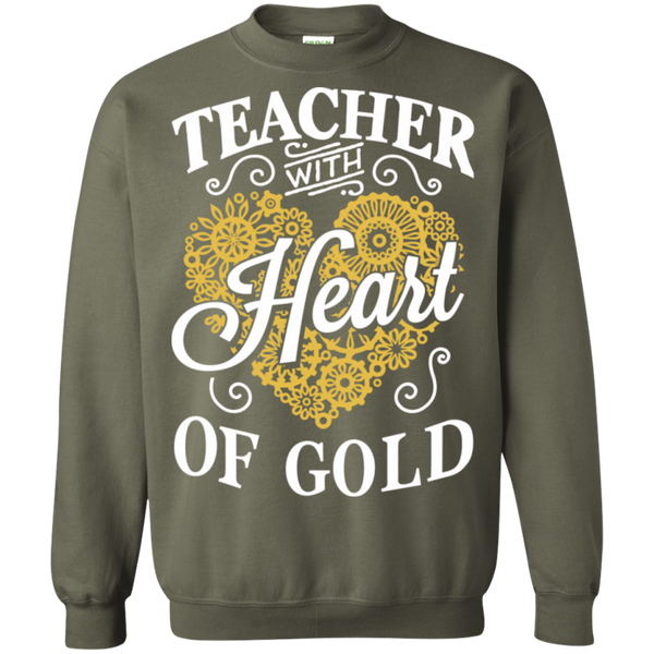 Teacher with Heart of Gold  Crewneck Pullover Sweatshirt  8 oz - TeachersLoungeShop - 8