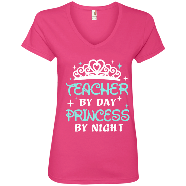 Teacher By Day Princess By Night ver2 Ladies' V-Neck Tee - TeachersLoungeShop - 2