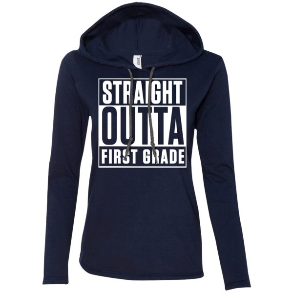 Straight Outta First Grade   LS T-Shirt Hoodie - TeachersLoungeShop - 4